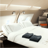 Singapore Airline's double bed in first class