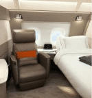 Singapore Airline's first class cabin bed and reclining chair